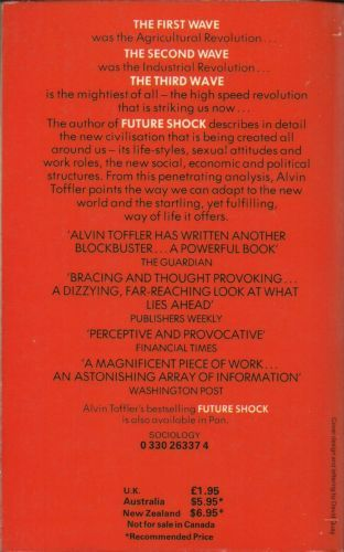 a review of alvin tofflers book the third wave Alvin toffler's future shock and the third wave are among the most influential books of our time now, in powershift, he brings to a climax the ideas set forth in his.