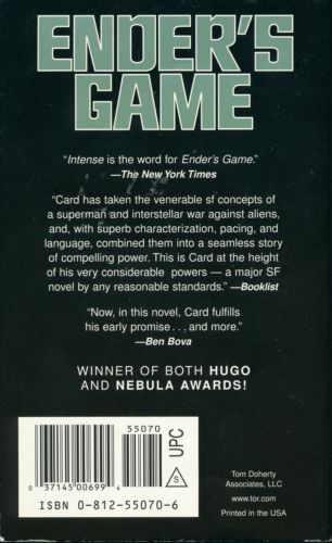 a report on the book enders game by orson scott card Harrison ford and asa butterfield star in film adaptation of orson scott card's 'ender's game':  orson scott card, enders game  game - cosmic book news report.